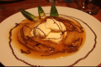 bananas flambe drizzled chocolate 