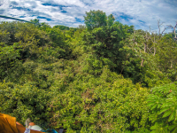 forest view on a zipline at the white river canyon zip line rincon de la vieja