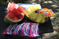 watermelon pineapple granola bar snacks cabo blanco tour