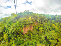 cable crossing valley from one side to the other tizati zip line rincon de la vieja