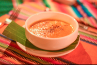 pumpkin soup sprinkled with cinnamon at finca exotica carate  - Costa Rica