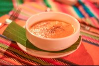 pumpkin soup sprinkled with cinnamon at finca exotica carate