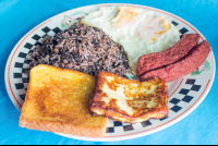 gallo pinto eggs sausage cheese and toast soda victoria