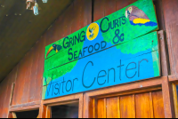 gingo curts seafood and visitor center sign