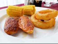 sausage onion rings and corn from lunch buffet at mastico restaurant