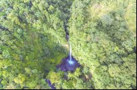 fortuna waterfall aerial view from above_