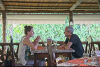 couple talking after lunch at las palmas restaurant at los lagos hotel resort and spa  - Costa Rica