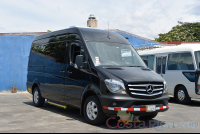 black mercedes benz sprinter van lateral passenger view  - Costa Rica