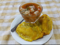 sea bass ceviche with patacones at perla del sur restaurant 