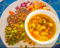 lentls vegetable soup and salad