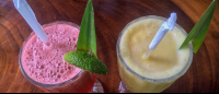 pineapple coconut and watermelon mint drinks