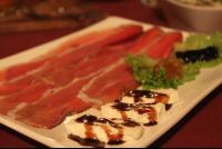 speck and goat cheese with balsamic reduction 