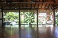 yoga shala room poolside view