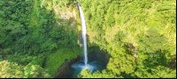 fortuna waterfall front aerial view with pond_