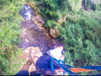 aerial view of the river from the white river canyon zip line rincon de la vieja