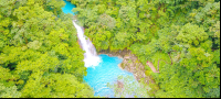 celeste river waterfall aerial view with step trail dji