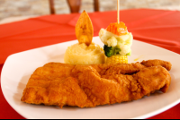 breaded fish filet at playa carmen restaurant  - Costa Rica