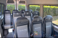 white mercedes benz sprinter van heredia seat row view from driver seat  - Costa Rica