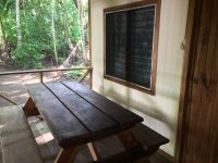 cabins porch picnic table 