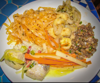 pasta lentels fish and vegetables