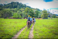 starting the horseback ride tour at rancho tropical