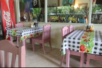 pink chairs checker tablecloths rosis soda 