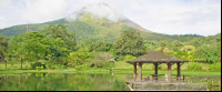 volcano view from entrance lake kiosk at los lagos hotel resort and spa  - Costa Rica