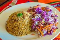 special rice with cabbage salad finca exotica restaurant carate