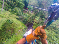 riding after the aerial slide at the white river canyon zip line rincon de la vieja