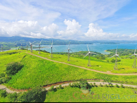 wind mills on the hilltops of lake arenal