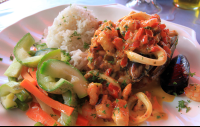 The mixed seafood plate at Mopri in Puerto Viejo