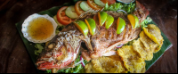 whole fish with limes and patacones casa el tortugo