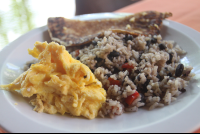 scramble egg gallo pinto with tortilla