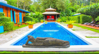blue osa budha laid on pool edge