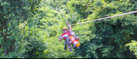 staff with a child ziplining