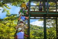 going up on the first platform osa palmas canopy tour