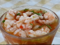 shirmp ceviche closeup at perla del sur restaurant