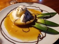 pineapple flambe drizzled chocolate