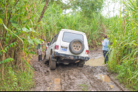 truck stucked on mud los patos to sirena ranger station corcovado national park