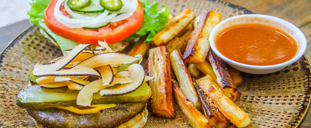 coconut bacon cheeseburger yucca fries luvburger 