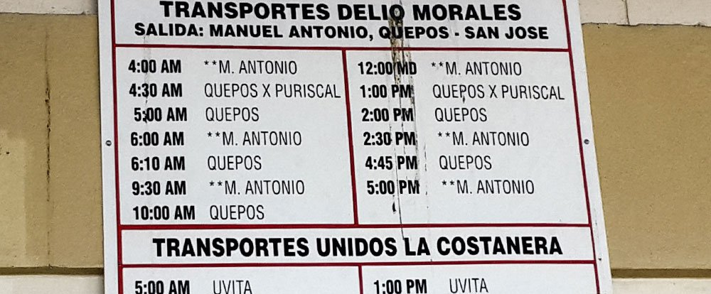 manuel antonio bus schedule