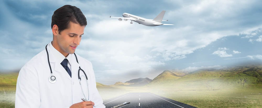 medical tourism doctor  with mountains and airplane in the background