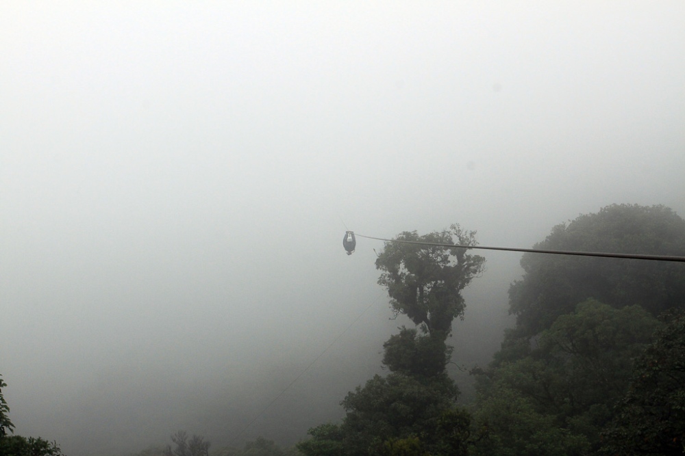 Flying through the clouds in Monteverde