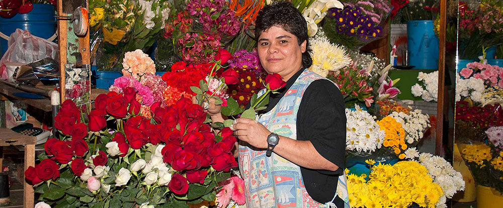 flower lady at central market in san jose   - Costa Rica