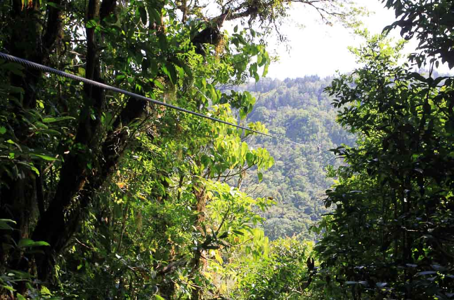 Extremos zipline over valley