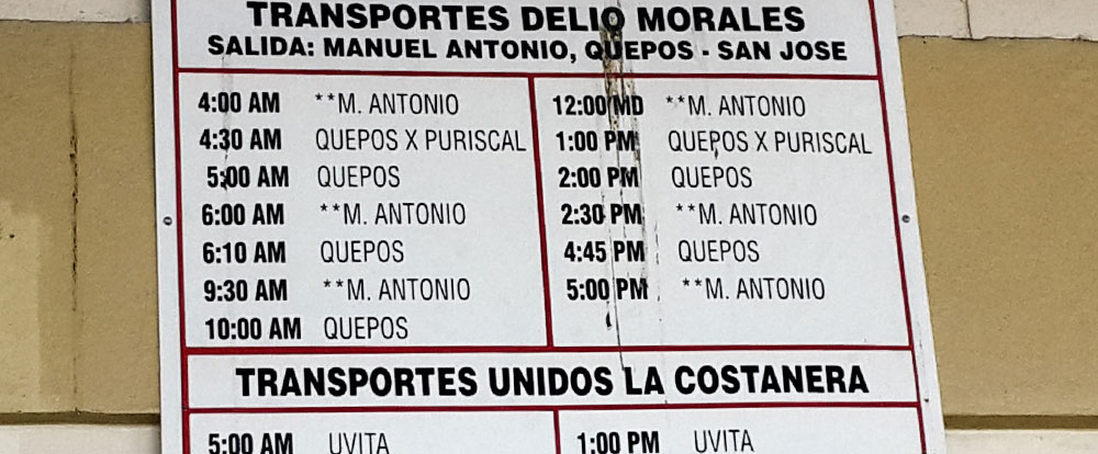 manuel antonio bus schedule   - Costa Rica
