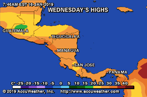 High Temperatures in Central America - Costa Rica Weather