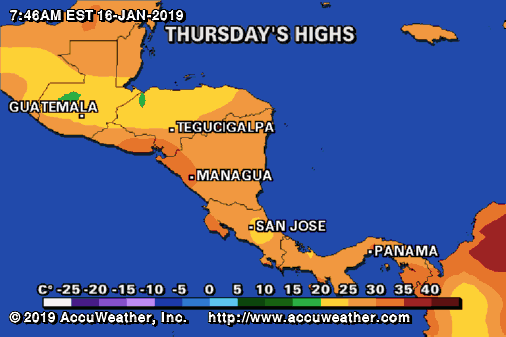 Tomorrow's Temperatures in Central America - Costa Rica