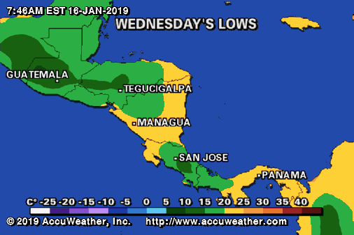 Low Temperatures in Central America - Costa Rica Weather